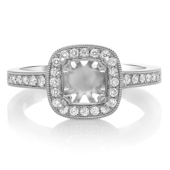 White Gold Milgrain Engagement Setting