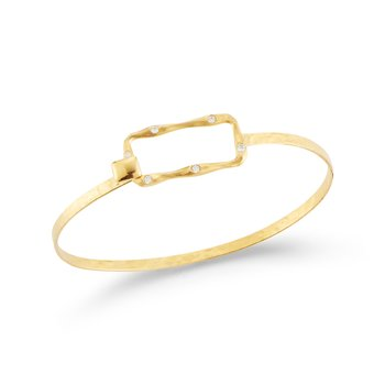 14K-Y  Open Rectangle Bangle, 0.15CT