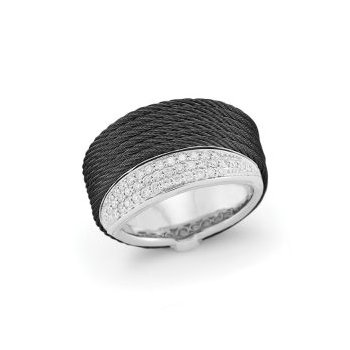 Black Cable Peekaboo Ring with 18kt White Gold & Diamonds