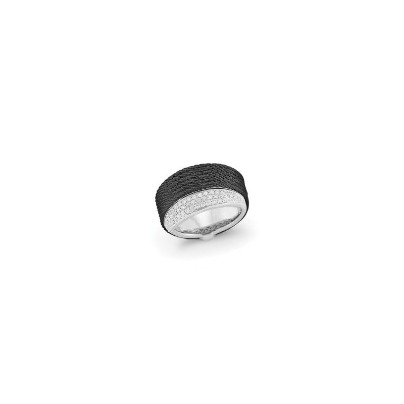 ALOR Black Cable Peekaboo Ring with 18kt White Gold & Diamonds