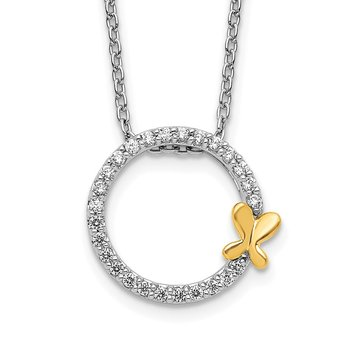 14k Two-tone Diamond Butterfly on Circle Pendant