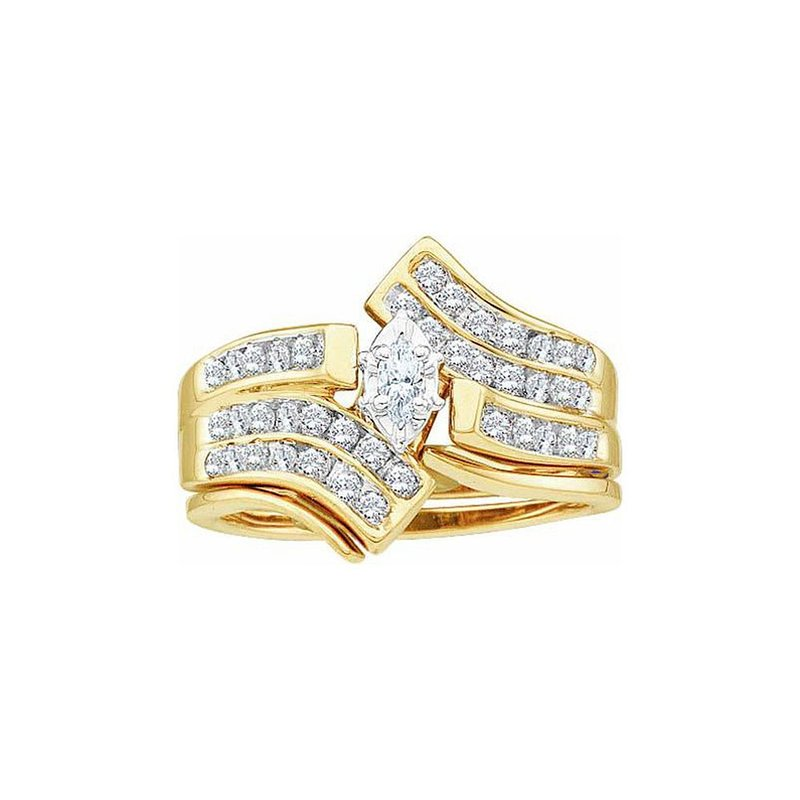 Gold-N-Diamonds, Inc. (Atlanta) 14kt Yellow Gold Womens Marquise Diamond Bridal Wedding Engagement Ring Band Set 1/2 Cttw