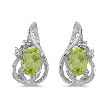 14k White Gold Oval Peridot And Diamond Teardrop Earrings