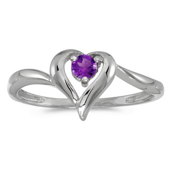 14k White Gold Round Amethyst Heart Ring