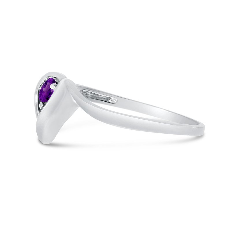 Color Merchants 14k White Gold Round Amethyst Heart Ring