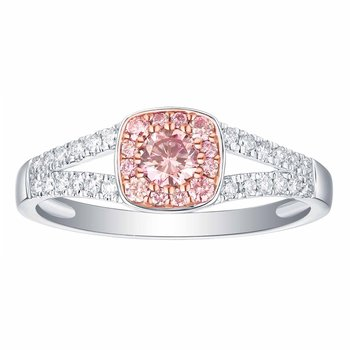 Smiling Rocks 0.49Ct Lab Grown Pink Color Diamond with G-H/VS1 Diamond Engagement Ring
