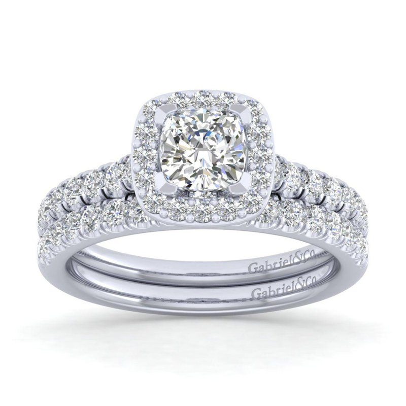 Gabriel & Co. Bridal 14K White Gold Cushion Halo Diamond Engagement Ring