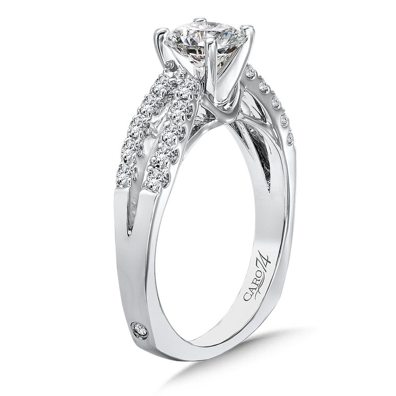 Caro74 Classic Elegance Collection Split Shank Diamond Engagement Ring in 14K White Gold with Platinum Head (3/4ct. tw.)