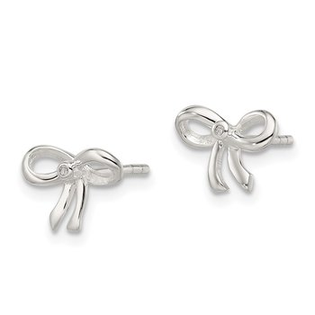 Sterling Silver Diamond Bow Post Earrings