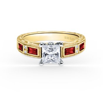 Deco Ruby Engraved Diamond Engagement Ring