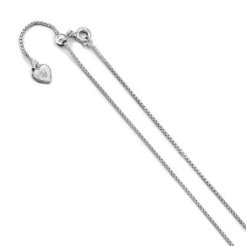 Leslie's Sterling Silver .95 mm Round Rectangle Box Adjustable Chain