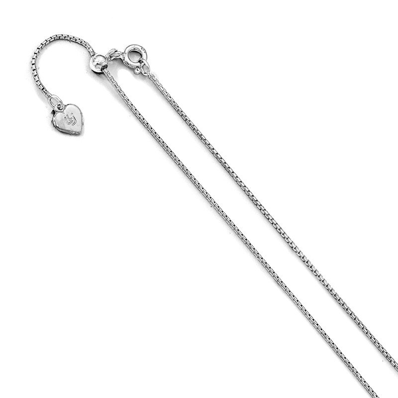 Leslie's Leslie's Sterling Silver .95 mm Round Rectangle Box Adjustable Chain