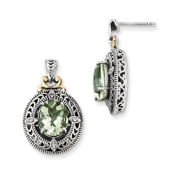 Sterling Silver w/14k Diamond & Green Quartz Earrings