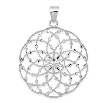 14k White Gold Diamond Cut Sphere Pendant