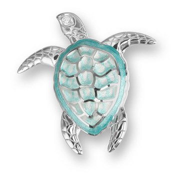Green Turtle Brooch-Pendant.Sterling Silver-White Sapphires - Plique-a-Jour