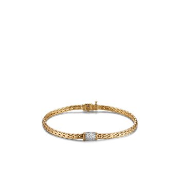 Classic Chain 3.5MM Bracelet in 18K Gold with Diamonds