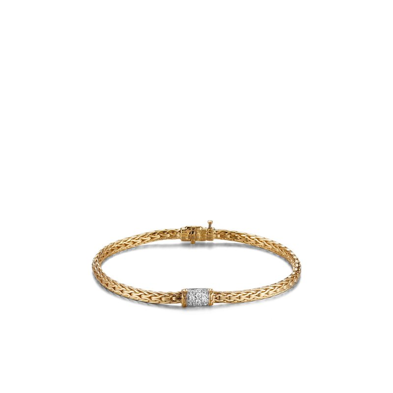 JOHN HARDY Classic Chain 3.5MM Bracelet in 18K Gold with Diamonds