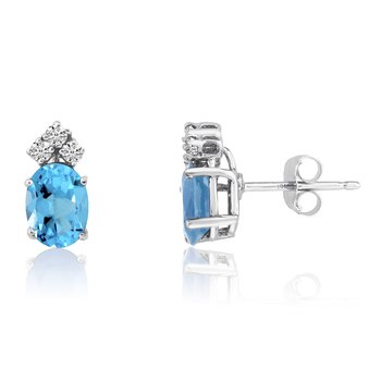 14k White Gold Oval Blue Topaz Earrings with Diamonds