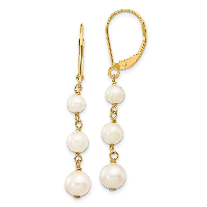 Quality Gold 14k 4-6mm White Semi-round FW Cultured Pearl Gaduated Leverback Earrings