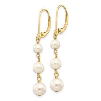 14k 4-6mm White Semi-round FW Cultured Pearl Gaduated Leverback Earrings