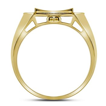 10kt Yellow Gold Mens Round Diamond Curved Octagon Cluster Ring 1/3 Cttw