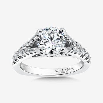 Diamond Split Shank Engagement Ring in 14K White Gold (0.42 ct. tw.)