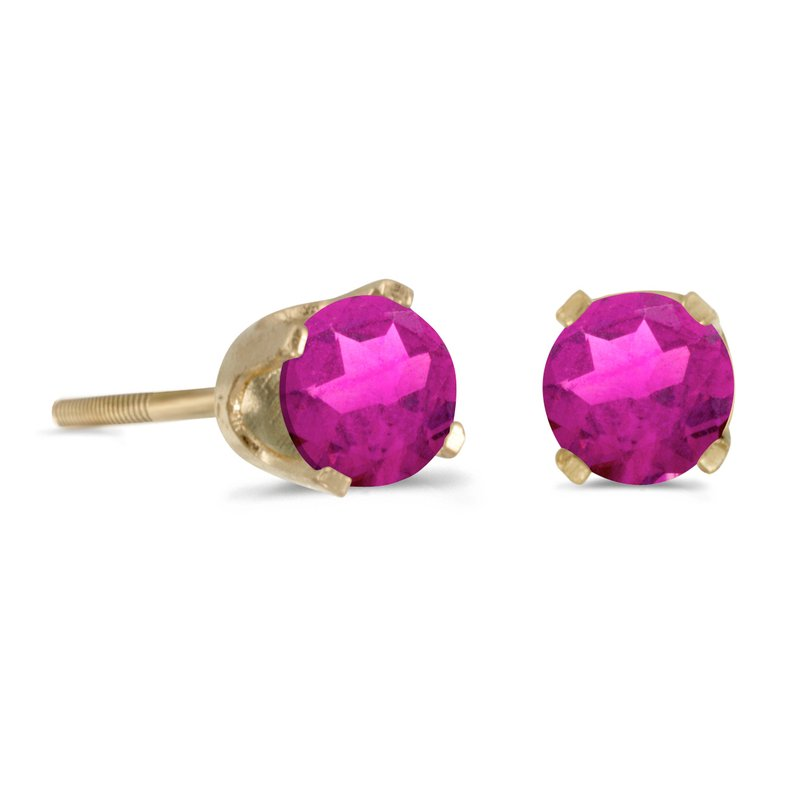 Color Merchants 4 mm Round Pink Topaz Screw-back Stud Earrings in 14k Yellow Gold
