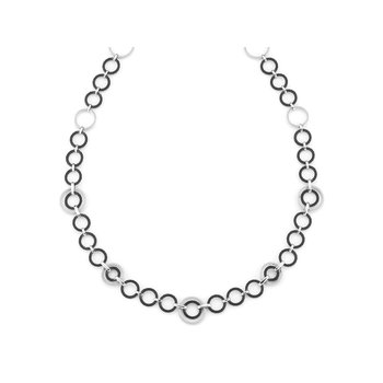 Black & Grey Cable Interlock Necklace