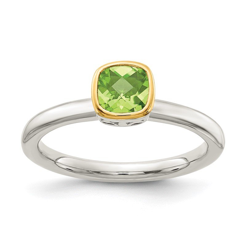 Quality Gold Sterling Silver w/ 14K Accent Peridot Ring