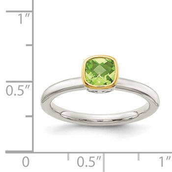 Sterling Silver w/ 14K Accent Peridot Ring