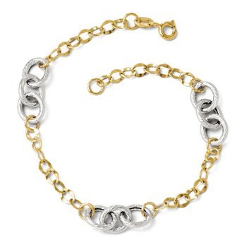 Leslie's 14k Two-tone Polished and Textured Fancy Link Bracelet