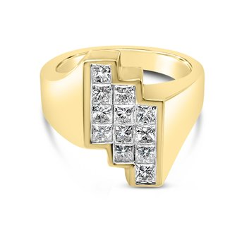 18K Yellow Gold Diamond Geometric Retro Fashion Ring