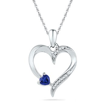 Sterling Silver Womens Lab-Created Blue Sapphire & Diamond Heart Love Pendant 1/4 Cttw