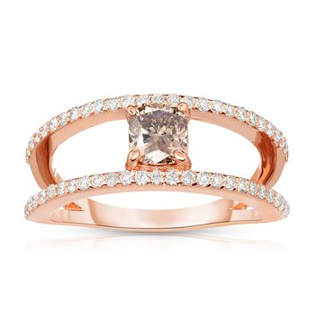 .87ctw Rose Gold Engagement Ring with .52ct Cushion Cut Natural Mocha Center