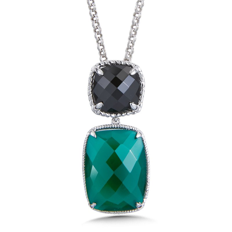 Colore Sg Sterling Silver Black Spinel & Green Onyx Pendant