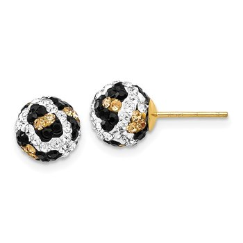 14k 8mm Post Leopard Pattern White Black Yellow Crystal Earrings