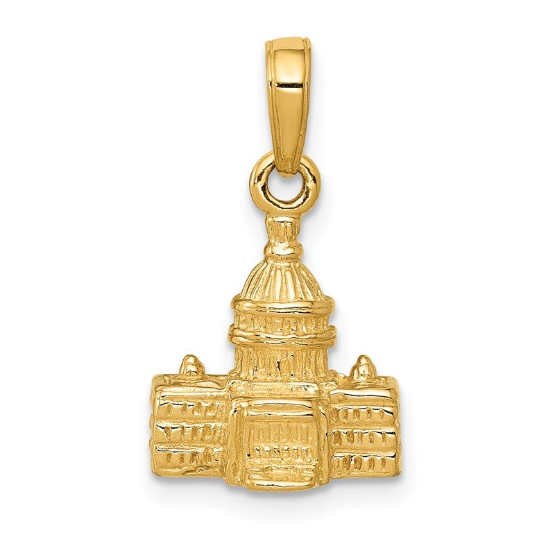 Quality Gold 14k 3D Washington D.C. Capital Building Pendant