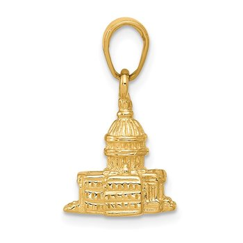 14k 3D Washington D.C. Capital Building Pendant