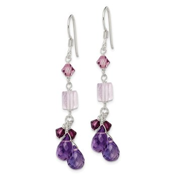 Sterling Silver Amethyst/Lavender Quartz/Crystal Dangle Earrings