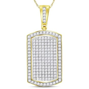 10kt Yellow Gold Mens Round Diamond Dog Tag Charm Pendant 2.00 Cttw
