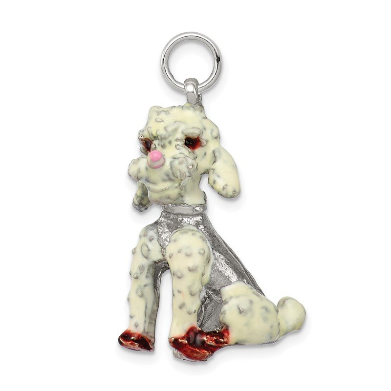Quality Gold Sterling Silver Enameled Large Poodle Charm