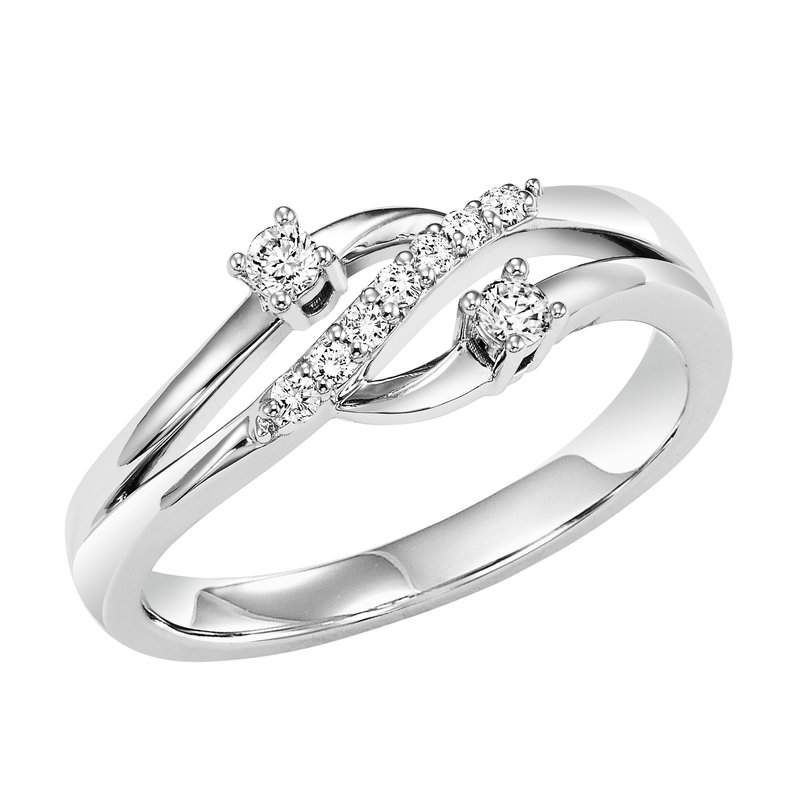 Twogether 14K Diamond Two Stone Ring 1/7 ctw