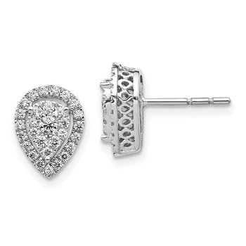 14k White Gold Teardrop Cluster Diamond Post Earrings