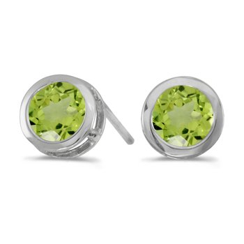 14k White Gold Round Peridot Bezel Stud Earrings
