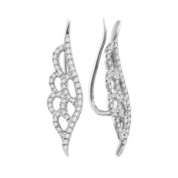 10kt White Gold Womens Round Diamond Winged Climber Earrings 1/3 Cttw