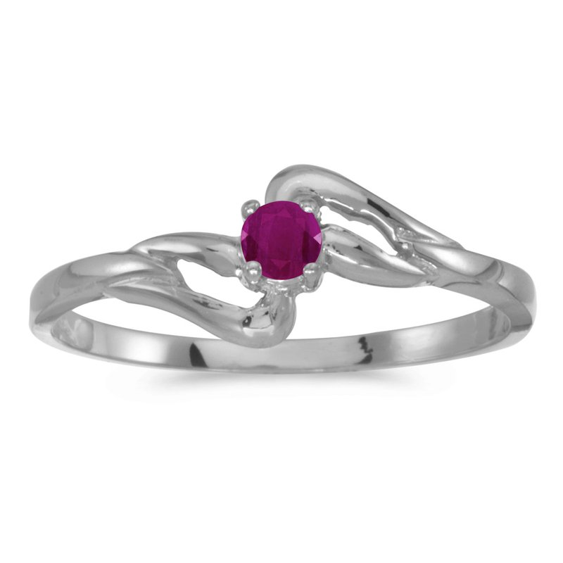 Color Merchants 10k White Gold Round Ruby Ring
