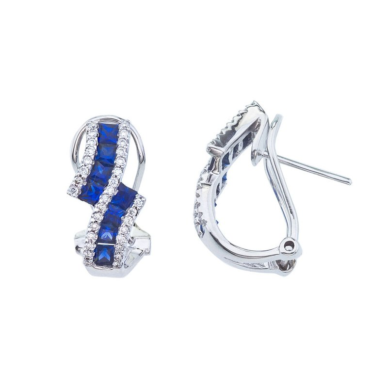 Color Merchants 14k White Gold Sapphire and Diamond Bypass Clip Earring