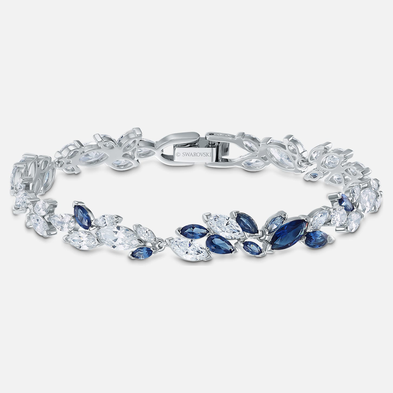 Swarovski Louison Bracelet, Blue, Rhodium plated