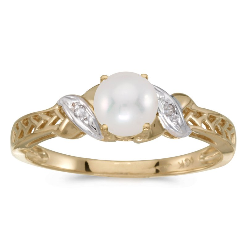 Color Merchants 14k Yellow Gold Freshwater Cultured Pearl And Diamond Ring