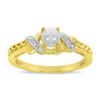 14k Yellow Gold Freshwater Cultured Pearl And Diamond Ring